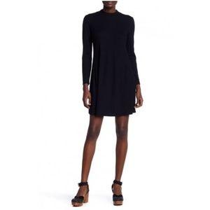 Madewell City Block Ribbed Mock Neck Dress Black